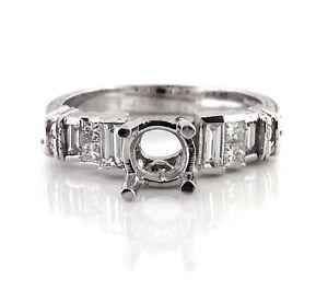 0.67 CT Natural diamond semi mount ring/setting only VS1/G 950 Platinum