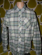 VOLCOM button down long sleeve shirt men's Medium plaid blue gray