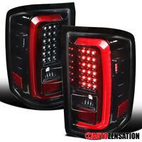 For 2014-2018 GMC Sierra 1500/2500HD/3500HD Slick Black Tail Lights Lamp+LED Bar