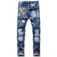 nuevo Dsquared2 fashion Ripped jeans Jeans Slim Fit Hombres QSD2 Washed Denim