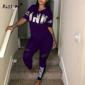 Pink Letter Print Tracksuits Women Two Piece Set Spring GYM WEAR T-shirt & pants