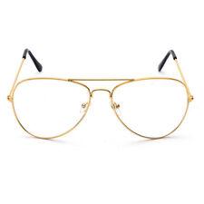 Unisex Metal Frame Pilot Aviator Clear Lens Glasses Plain Eyewear Eyeglasses