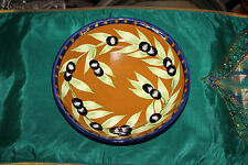 Laurie Gates Olive Pattern Gates Ware Pasta Salad Bowl-Blue & Brown Color