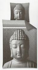 Renforcé Bettwäsche Buddha - 135 x 200cm + 80 x 80cm - grau - Baumwolle - Asien