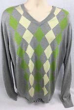 Express Silk Cashmere Sweater Mens Argyle Sz L Large Gray Green V Neck