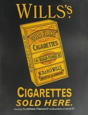 "TIN SIGN ""Wills's Cigarettes""  Smoking Art Deco Garage Wall Decor"