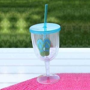 Flip Flops Blue Green Acrylic Wine Goblet 17oz 60840B