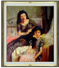 Framed Quality Oil Painting, Tender Mother Braiding Her Daughter's Hair 20x24in