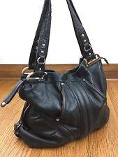 B Makowsky XL Hobo Bag Pebbled Genuine Leather Black Silver Zip Top Pockets