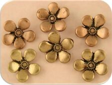2 Hole Beads Buttons Periwinkle Flowers Copper & Gold Plated Metal Sliders QTY 6