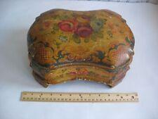 Vintage Large Italian hand painted Floral Florentine Tole Jewelry Vanity Box