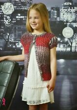 Knitting pattern per bambini manica corta facile Knit Pizzo Cardigan DK kingcole 4376