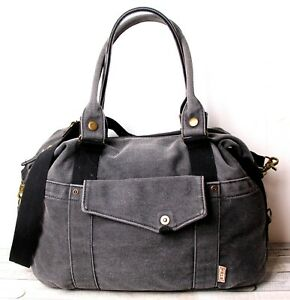 WASHED GRAY COTTON CANVAS MEDIUM DUFFLE CARRY ON OVERNIGHT WEEKENDER SHOULDER BG