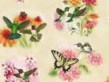 FAT QUARTER  HUMMINGBIRDS BUTTERFLIES CREAM ELIZABETH STUDIO COTTON QUILT FABRIC