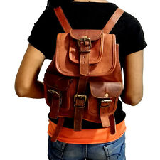 Vintage Handmade Genuine Real Leather Hiking Backpack Rucksack Small Bag