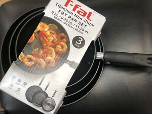 T-Fal Fry Pan Set Titanium Non-stick Cookware Kitchen touch Oven Safe 3 Piece