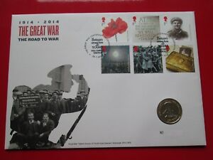 2014 WW1 Great War The Road To War BU £2 Coin Stamp Cover FDC MINT CONDITION