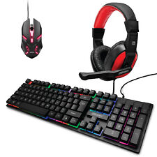 2BOOM Gaming bundle with Headset, Keyboard and Mouse, LED Lighting, Precision