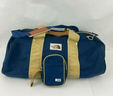 North Face Vintage Duffle  Brown Label Made In USA Blue Canvas Large Strap
