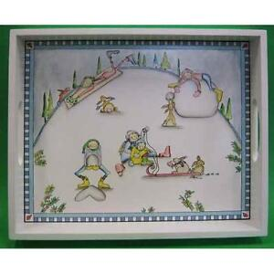 Claire Stoner Glorious Snow Family Wood Tray Hand-painted NIB Retired Demdaco