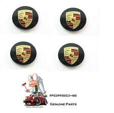 Genuine Porsche 997 987 Cayenne Center Cap Black Colored Crest Wheel Set 4
