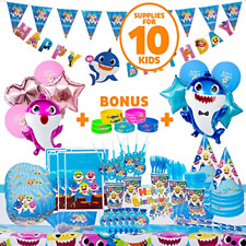 Baby Shark Party Supplies 109 Pieces, Baby Shark Birthday Decorations for 10 Fun