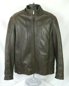 Andrew Marc Leather Jacket Large Brown Cafe Motorcycle Moto Heavy