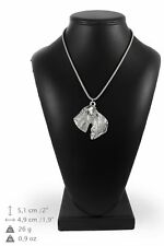 Kerry Blue Terrier - silver plated necklace on silver cord, Art Dog Usa
