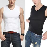 Mens Cotton Fall Home Warm Tank Sleeveless V-neck T Shirt Sports Muscle Vest Gym
