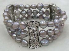 3rows freshwater pearl gray baroque bracelet wholesale nature amazing quality