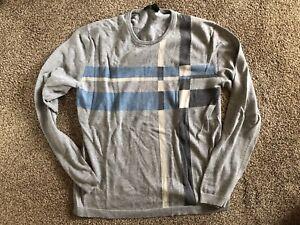 DKNY Mens Sweater Small Crewneck Gray, Blue, Tan