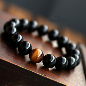 Natural Black Onyx With Stone Tiger Eye Beads Bracelet For Mens Jewelry 12 Good