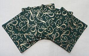 Set of 4, Handmade fabric coasters. Green and metallic gold fabric.