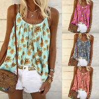 Women's Sunflower Boho Sling Tank Tops Loose Casual Holiday Beach Vest Blouse US