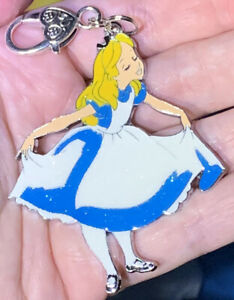Large Silver Alice From Alice In Wonderland Zipper Pull & Keychain Add On Clip!!