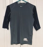 Nike Pro Youth Boy's Large Baseball T-Shirt Gray Quick Dry Compression Athletic