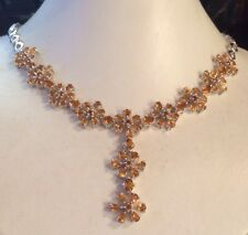 """MESMERIZING NATURAL TOP RICH YELLOW CITRINE- 925 SILVER NECKLACE 18.5"""" INCHES"""