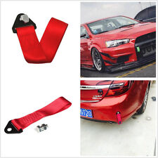 Red Car High Strength Tow Strap Hook Point Fabric Heavy Duty Road Recovery Rope