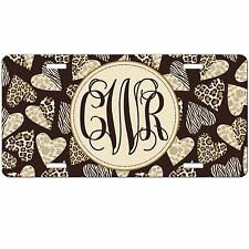 Personalized Monogrammed Car Tag License Plate - Leopard Cheetah Zebra Hearts