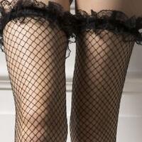 Men Black Lace Fishnet Thigh High Stockings Glossy Sissy Socks Clubwear Costumes