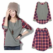 Women Casual Long-Sleeve Loose Plaid Checked T shirt Tops Blouse Fashion New S