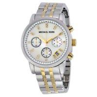 NWT MICHAEL KORS Ritz Two-Tone Silver & Gold Glitz 36mm Chronograph Watch MK5057