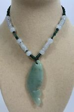 Handcrafted knot work cord adjustable jade carved Fish pendant/necklace