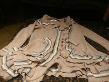 "Anthropologie ""Sparrow"" Womens M Long Angora Cardigan Sweater Ruffle"