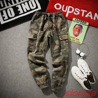 Mens camouflage Loose Fit Drop Crotch Hip Pop Casual Pants Cotton Cargo Trousers