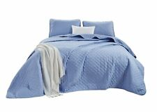 3-Piece Yarn Dyed Heathered Weave Solid Quilted Blanket Bedspread Set