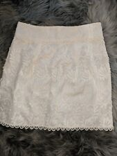 Zara Woman's M Guipure Skirt Cream Lace Crochet Embroidered Lined Applique $80