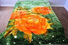 ☀️KING SUPER SOFT KOREAN MINK PLUSH THROW BLANKET Floral Green ORANGE Flower