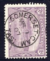 Tasmania nice 1907 SOMERSET-CAM pmk (type 1) on 2d pictorial rated V/C (1)