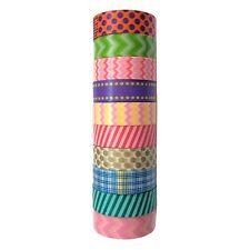 Colorful Washi Masking Tape(Set of 10 Rolls)-Wide Japanese Decorative Paper Tape